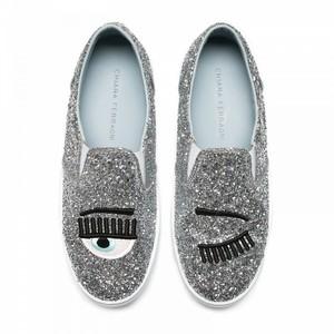 silver glitter slip-ons