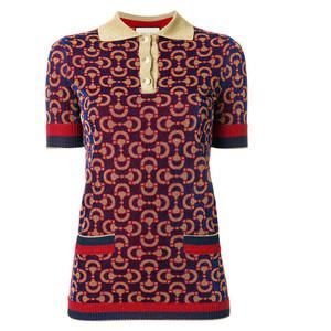 knitted jacquard polo shirt