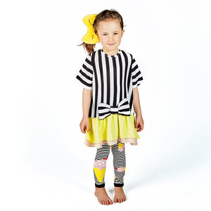 White and Black Stripe Alice Tunic with Bow Detail