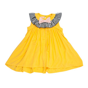 Yellow Frill Neck and Bow Pretty Pretty Dress